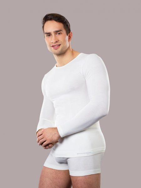 Marškinėliai su merino vilna vyrams Brubeck Comfort Wool ilgomis